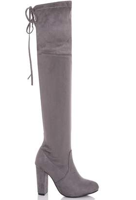 343d25c0be6 Quiz Grey Faux Suede Tie Top Over The Knee Boots