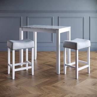 BEIGE Nathan James Viktor Three Piece Dining Set Kitchen Pub Table White Marble Top, White Wood Base, Light Gray Fabric Seat