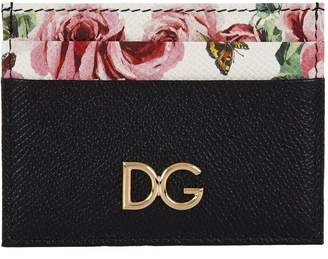 Dolce & Gabbana Leather Floral Printed Card Holder