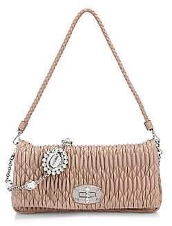 Miu Miu Women's Crystal Chain Matelassé Leather Shoulder Bag