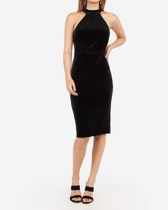 Express Velvet Mock Neck Midi Bodycon Dress