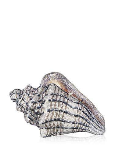 Judith Leiber Couture Cubana Conch Shell Crystal Clutch Bag, Gold