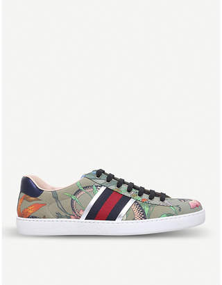 Gucci New Ace Flora leather trainers
