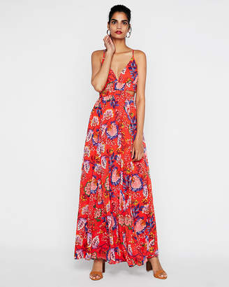 Express Petite Floral Side Cut-Out Maxi Dress