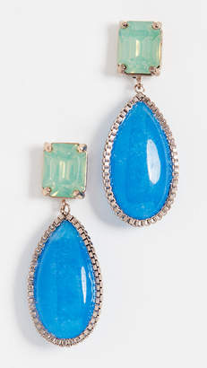 Theia Jewelry Adina Double Tier Drop Earrings With Chain Detail