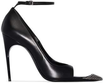 Saint Laurent black Palace 105 stud embellished cutout leather pumps