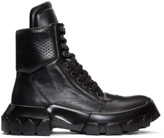 Rick Owens Black Tractor Dunk Boots