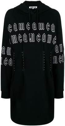 McQ repeat logo corset hoodie dress