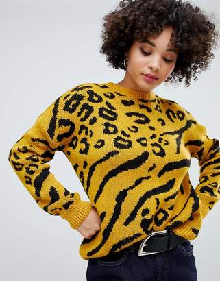Missguided jumper in yellow leopard