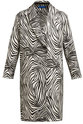Märit Ilison - Fancy Zebra Stripe Cotton Blend Coat - Womens - Black White