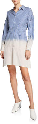 Derek Lam 10 Crosby Striped Dip-Dye Cotton Shirt Dress