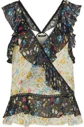Love Sam Wrap-Effect Ruffled Floral-Print Chiffon Blouse