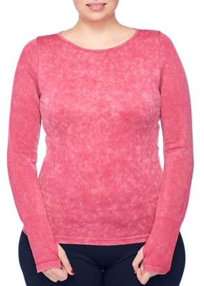 Under Control Women's Plus Active Acid Wash Boat Neck Long Sleeve Knit Top with Thumb Holes