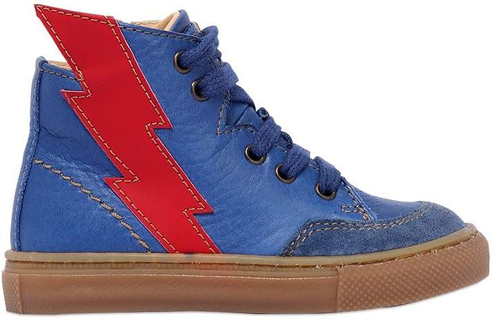 Lightning Bolt Nappa Leather Sneakers