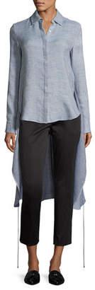 Rosetta Getty Melange High-Low Apron Wrap Shirt, Sky