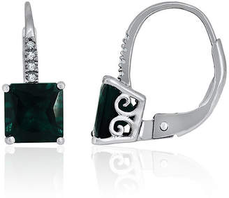 FINE JEWELRY Lab-Created Emerald & White Sapphire Sterling Silver Earrings