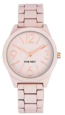Nine West Pink Dial Analog Rubber Bracelet Watch