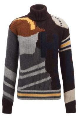 BOSS Hugo Fashion Show Capsule turtleneck sweater baseball intarsia L Open Grey