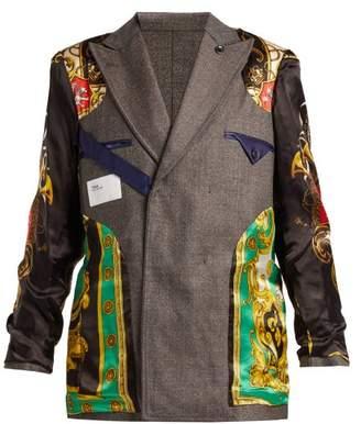 Toga Reversible Satin Panelled Wool Blazer - Womens - Grey