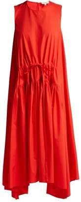 DELPOZO Asymmetric Cotton Poplin Midi Dress - Womens - Red