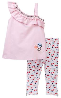Betsey Johnson Pink Chambray One Shoulder Top & Capri Leggings Set (Little Girls)