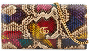 Gucci Petite Marmont Python Flap Wallet on a Chain