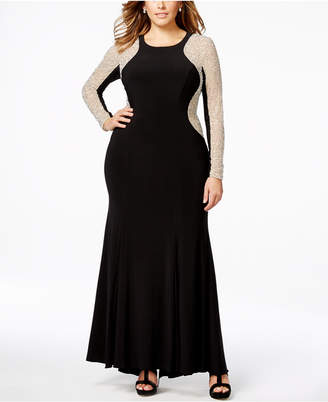 Xscape Evenings Plus Size Beaded Illusion Hourglass Gown