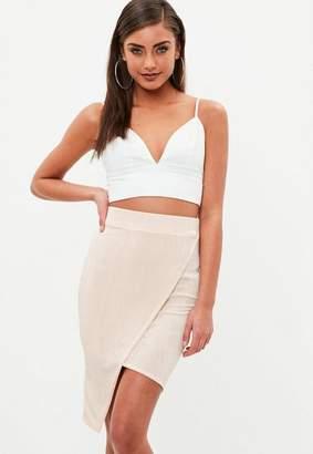 Missguided Nude Slinky Wrap Asymmetic Midi Skirt, Beige