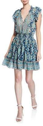 Shoshanna Amine Printed Tie-Neck Smock-Waist Fit-&-Flare Dress