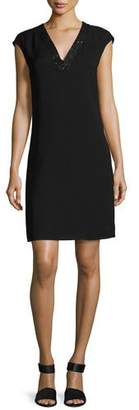 Lafayette 148 New York Jolet Cap-Sleeve Sequin-Trimmed Silk Dress, Black