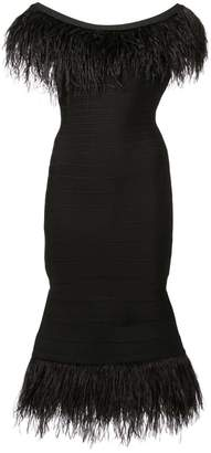 Herve Leger ostrich feather trim bandage dress
