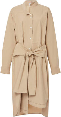 Loewe Tie-Waist Asymmetric Cotton-Blend Shirtdress