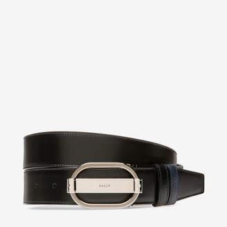 Bally Sil 35Mm Black, Men's plain split bovine leather adjustable/reversible belt in black