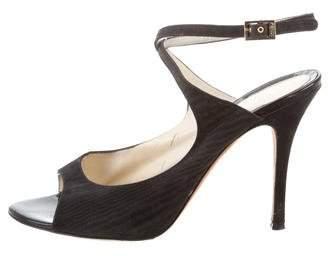 Fendi Woven Peep-Toe Sandals