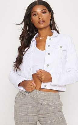 PrettyLittleThing Cropped White Denim Jacket