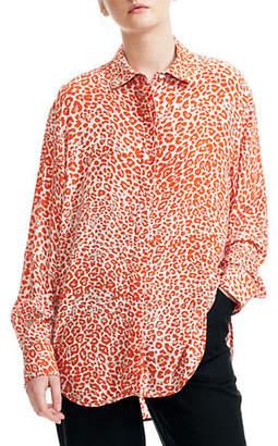 Maje CaponaLeopard-Print Button-Down Shirt