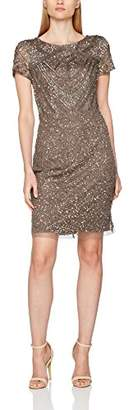 Adrianna Papell Women's Short Sleeve Fully Beaded T-Shirt Cocktail Dress