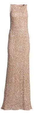 Theia Women's Sleeveless Sequin Sheath Gown - Silver - Size 4