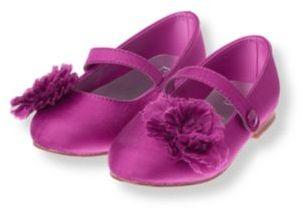 Janie and Jack Pleated Rosette Silk Shoe