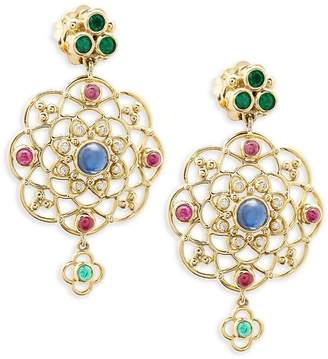 Temple St. Clair Women's 18K Yellow Gold, Diamond and Gemstone Chandelier Earrings