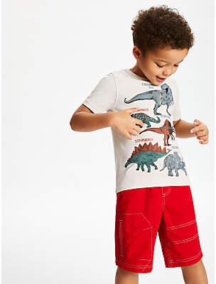 11ac520e John Lewis & Partners Boys' Dinosaur T-Shirt, Neutral