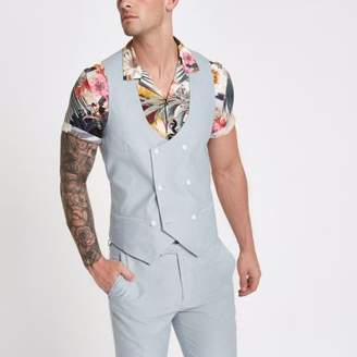 River Island Light blue double-breasted vest