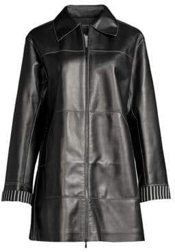 Lafayette 148 New York Christopher Leather Contrast Top-Stitch Jacket
