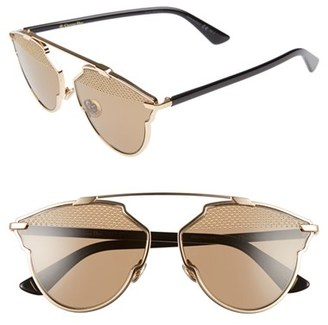 Women's Dior So Real Studded 59Mm Brow Bar Sunglasses - Gold/ Black