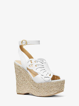 Michael Kors Felicity Leather Butterfly Wedge