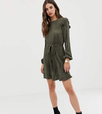 Asos Tall DESIGN Tall long sleeve frill belted plisse dress