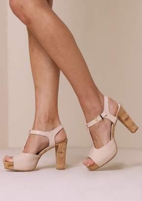 522c8b6c2dd Missy Empire Missyempire Anja Nude Patent Leather T Bar Heels