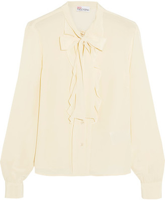 REDValentino - Pussy-bow Ruffled Silk Crepe De Chine Blouse - Cream $495 thestylecure.com