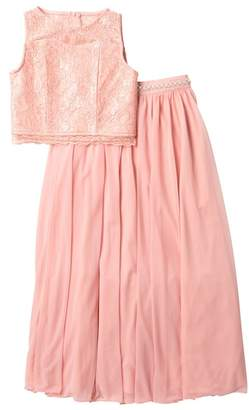 My Michelle mymichelle Lace Top & Long Tulle Skirt Set (Big Girls)