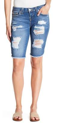 True Religion Distressed Bermuda Denim Shorts